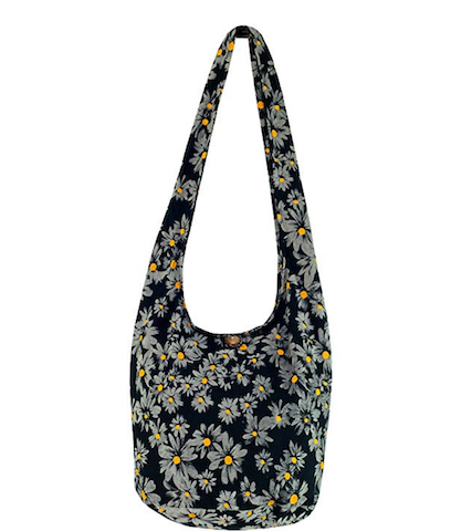 black cotton shoulder bag with yellow white daisy print