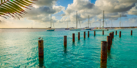 bonaire caribbean netherlands sea view with sailboats