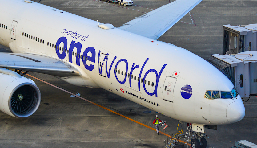 japan airlines airplane with oneworld logo