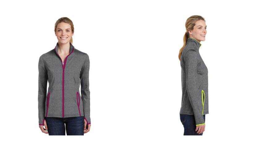 women's fall jacket in grey with pink and green trim