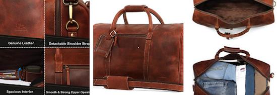 Rustictown leather underseat travel duffel personal item