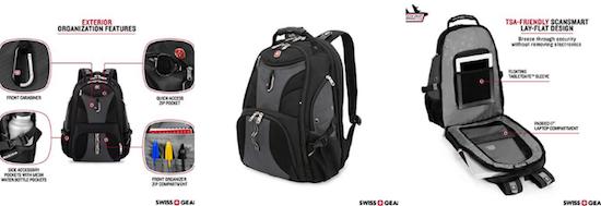 Swiss Travel Gear TSA friendly laptop backpack personal item