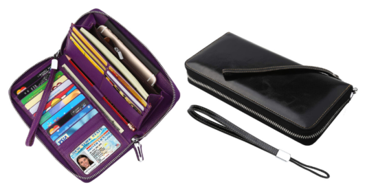 open purple travel wallet with credit cards, and a window for license, closed black travel wallet