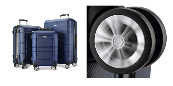 set of 3 blue showkoo suitcases, close up of wheel on suitcase