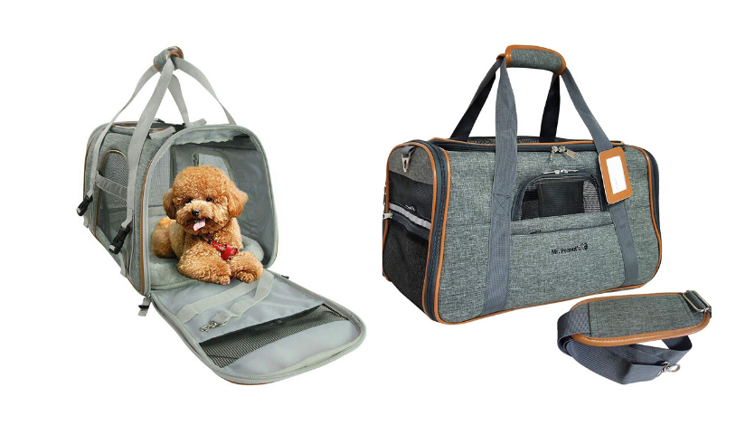 dog in grey mr. peanuts carrier, grey tsa approved pet carrier