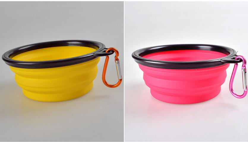yellow pet travel bowl with black trim and clip, hot pink travel bowl with black trim and clip
