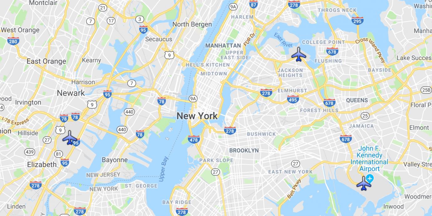 Map of NYC Airports JFK, Newark EWR, and LaGuardia LGA