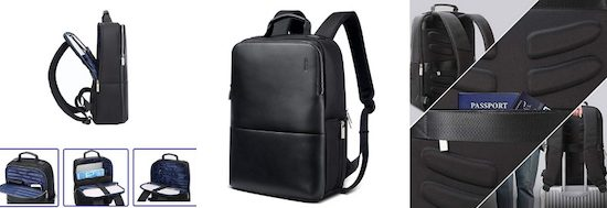 BOPAI Anti Theft Backpack 15 inch Laptop Business Slim College Shoulder Rucksack Water-Resistant Synthetic Leather Backpack for Men