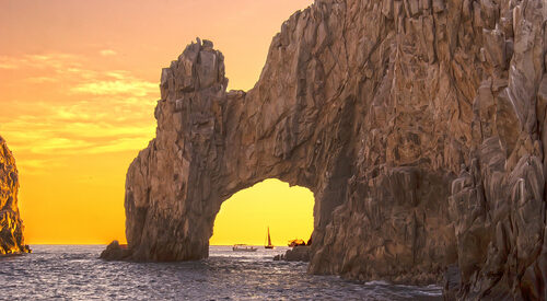 los cabos cabo san lucas arch yellow sunset