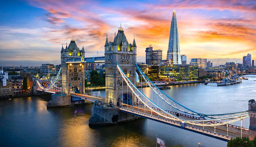 London England Tower Bridge Sunset Thames Shard