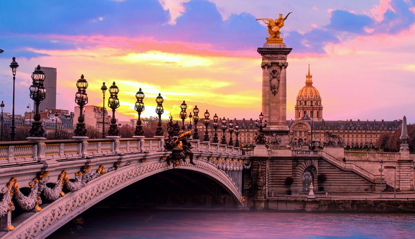 alexandre bridge paris france sunset