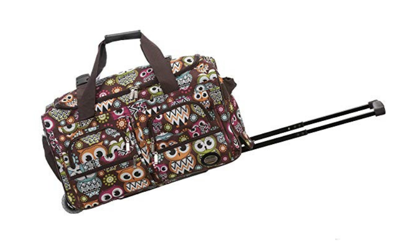 patterned rolling duffle bag
