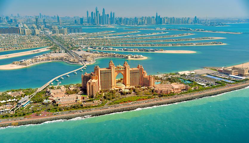 Dubai UAE Atlantis Palms Hotel from the sky