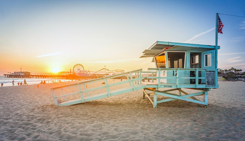 Lifeguard hut at Santa Monica Beach Los Angeles