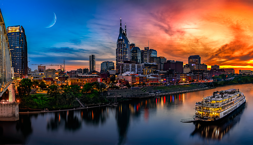 Nashville Tennessee at sunset on the river