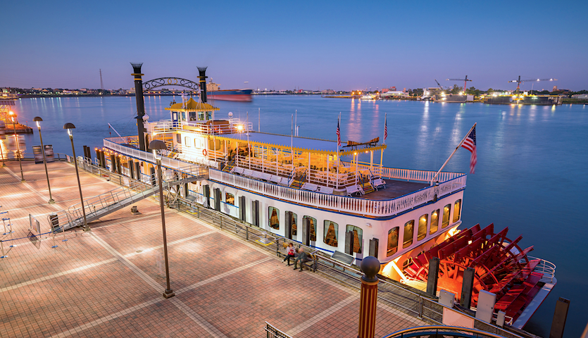 Riverboat in New Orleans Louisiana at night