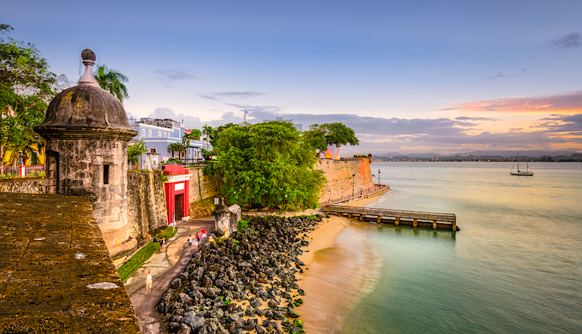 Fort in San Juan Puerto Rico at sunset