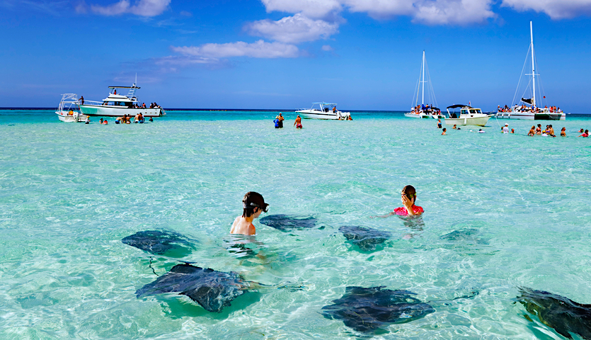 Kids snorkeling with manta rays in Cayman Islands