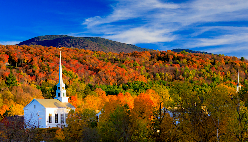 Fall foliage and church in New England, Vermont