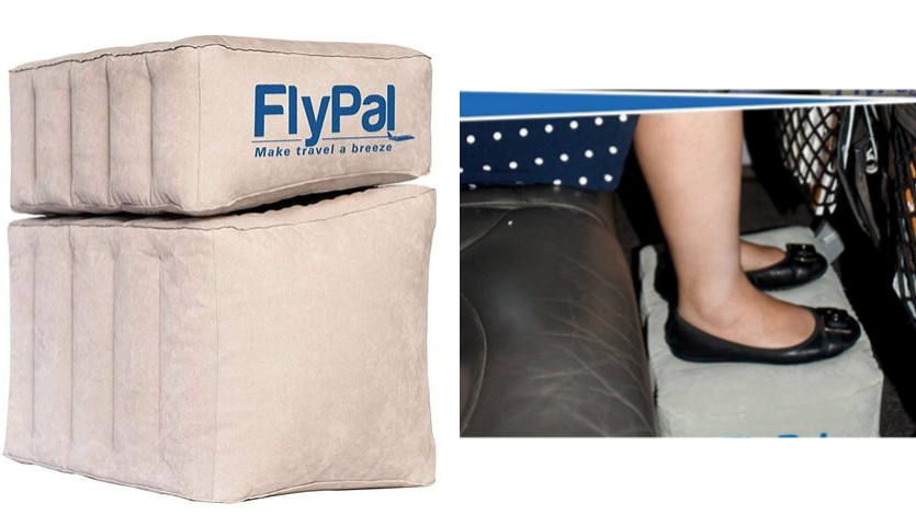 flypal blow up foot rest, woman's feet on footrest on plane
