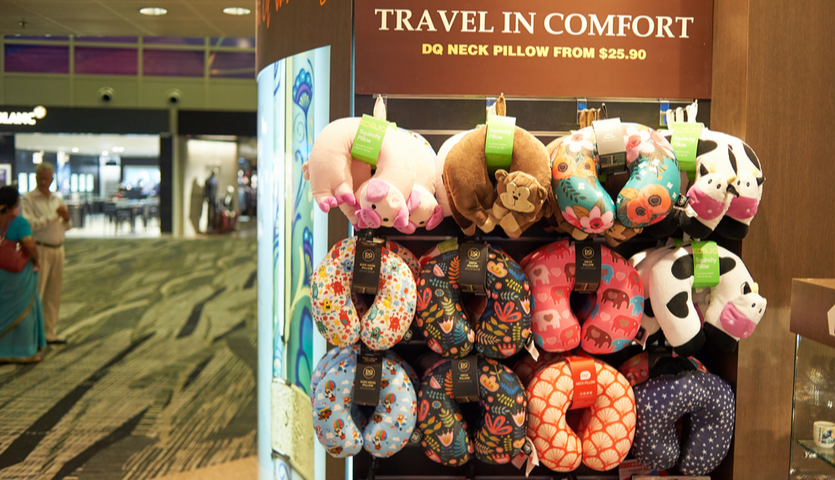 neck pillows on display at airport
