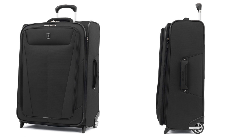 black checked travelpro suitcase, side view and front view