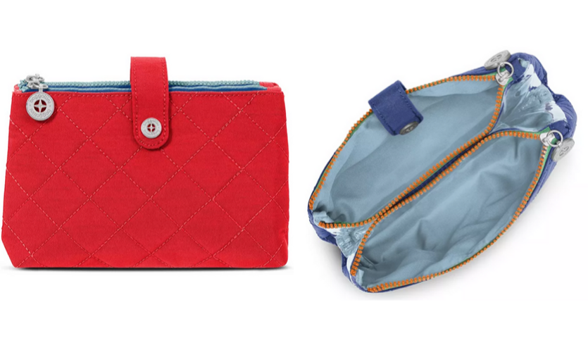 red baggallini cosmetics bag, blue baggallini cosmetics bag open