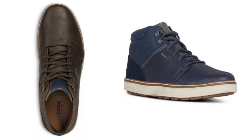 top view of brown geox boot, side view of blue Geox boot