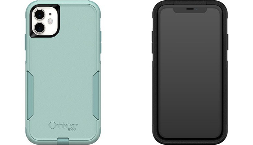 back of mint green otterbox commuter case for iphone 11, front view of black otterbox commuter case