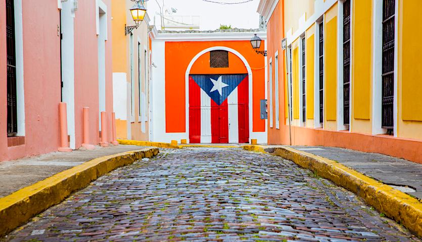Puerto Rico flag in oldtown San Juan