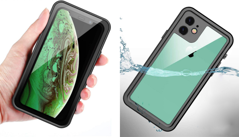 caucasian hand holding iphone 11 with garcoo waterproof case on it, iphone 11 submerged in water