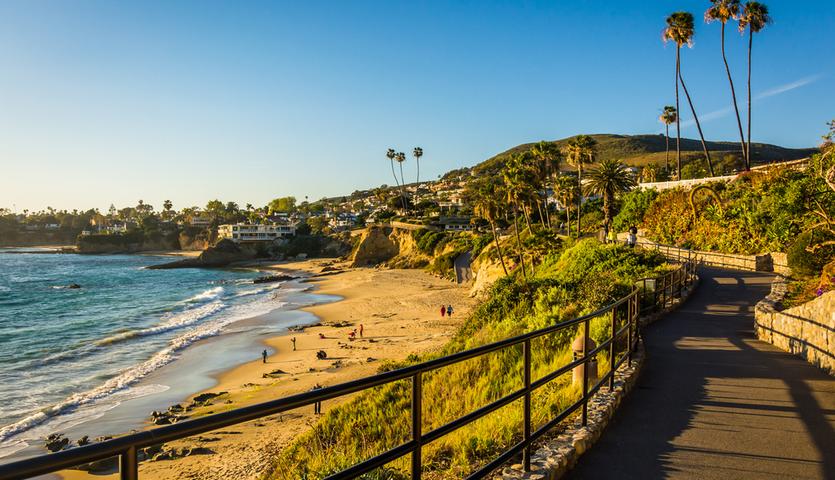 view of Pacific ocean at Heisler Park in Laguna Beach, Orange County, California