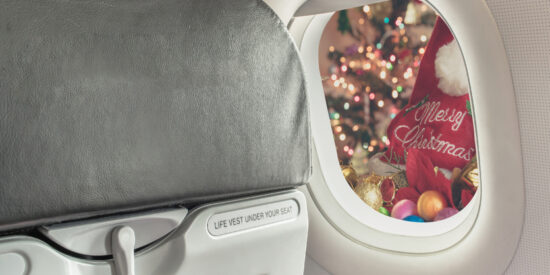 airplane window view of christmas decorations