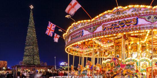 christmas fair in hyde park, london, england