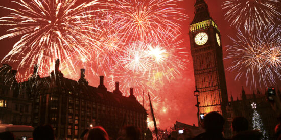 New Year's fireworks at Big Ben clock tower in London, England