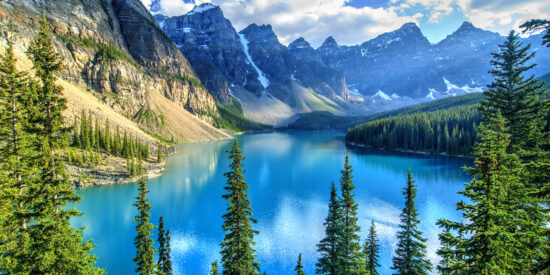 Wenkchemna Peaks and reflection on Moraine Lake in Banff National Park Rocky Mountains near Calgary, Alberta, Canada