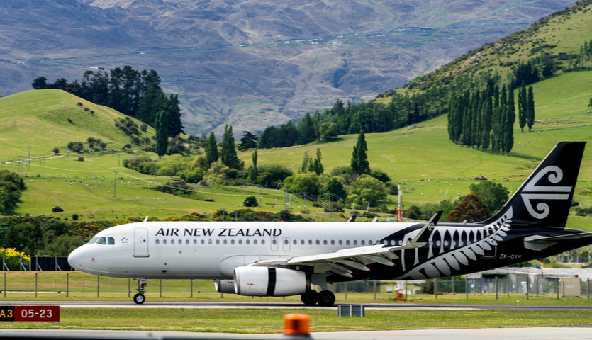 Air New Zealand airplane taking off from Queenstown South Island
