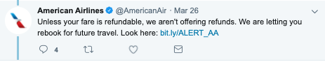 american airlines responds on twitter about refunds for flights canceled due to coronavirus COVID-19