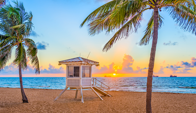 Sunset at the beach in Ft. Lauderdale Florida