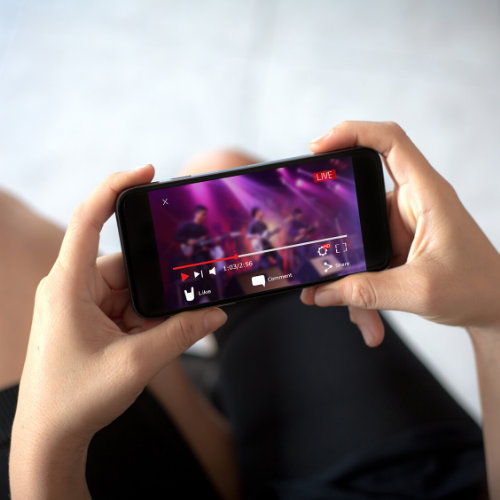 female live streaming concert from her phone at home